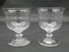 A pair of antique blown glass stemmed rummers with rounded foot. H.12cm