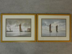 Alan Whitehead (B.1952), a pair of framed and glazed watercolours, sailing ships, signed. H.39 W.