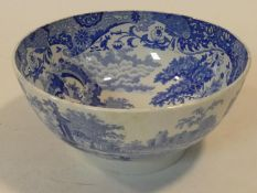 An antique blue and white transferware 'Italian' pattern Spode footed ceramic bowl. H.13 D.28cm