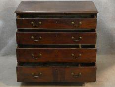 A Georgian mahogany chest of four long graduating drawers on ogee bracket feet. H.85 W.95 D.50cm