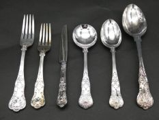 Roberts And Belk Furnival Works Kings pattern silver plated boxed cutlery. Still in wrappers. Makers