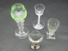 A collection of 18th century and antique glasses. Including an 18th century wine glass with opaque