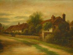 A 19th century gilt framed oil on board, rural village scene. H.51 W.71cm