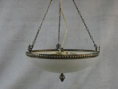 A vintage bronze ceiling pendant with frosted domed glass shade with central pineapple finial. D.