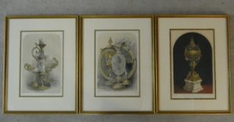 Three 19th century framed and glazed hand coloured plates of various pieces from Watherston &