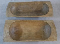 Two antique sycamore bread proving troughs. H.19 L.99 W.42cm (Largest)