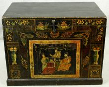 A 19th century Chinese chest with twin carrying handles and hand decorated with lacquered panels.