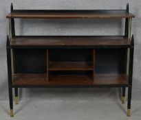 A mid century vintage ebonised and teak G-Plan Librenza buffet table. H.96 W.105.5 D.31cm