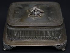 An antique silver plated engraved sardine dish with pressed glass liner. The lid is engraved with