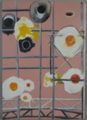 An unframed oil on board,surreal study, Eggs & Scaffolding, signed, dated and inscribed, Adam