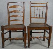 A 19th century oak ladderback hall chair and a similar antique elm hall chair. H.92cm