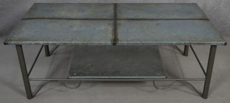 A metal framed low table with zinc lined top. H.43 L.120 W.60.5cm