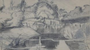 John Northcote Nash, RA (1893-1977), ink and wash on paper, Fence and Pond, inscribed with notes,