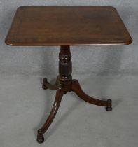 A 19th century mahogany tilt top table on swept tripod base, H.75 L.71.5 59cm