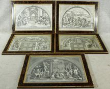 A set of five 18th century engravings of Raphael frescoes, from Vatican Stanze. H.63 W.80cm