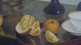 A framed oil on canvas, still life fruit, signed Masson. H.84.5 W.97cm