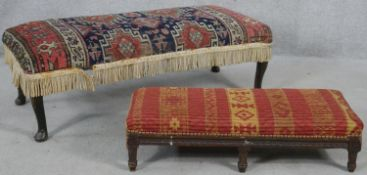 A kelim upholstered footstool on cabriole supports and a similar 19th century stool. H.30cm