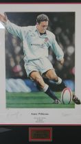 A framed and glazed signed limited edition print 'Johnny Wilkinson Lionheart' by Robert J Highton,