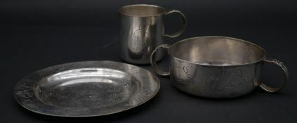 A silver plated child's dinner set, each piece stamped with rabbit motifs and registered mark to the