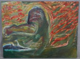 An unframed oil on canvas, Onward ever onward, signed Don Jackson and dated to the reverse with