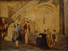 A 19th century oil on board, figures in a grand interior, possibly the family of Marie Antoinette