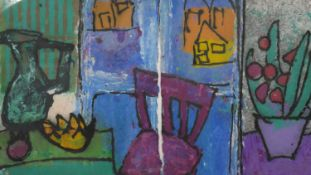 A large framed ink and watercolour on paper laid on board of an abstract still life. Unsigned. H.