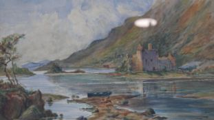 A 19th century watercolour, Loch scene with castle ruins, indistinctly signed and dated. H.40.5 W.