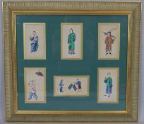 A framed and glazed set of six antique Chinese water colour studies of everyday life. H.59 W.66cm