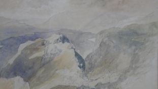 Alfred William Hunt (1830-1896), a watercolour 'Above Low Dore' with label to the reverse. H.44.5