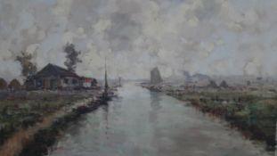 Henri Joseph Pauwels (1903-1983), oil on canvas, rural riverscape with farm buildings, signed. H.