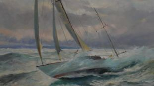 A framed oil on canvas, racing yacht in rough seas, signed Malcolm Winter. H.90 W.100cm