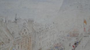 Albert Goodwin (1845-1932), watercolour, Edinburgh Castle, signed and dated with label to the