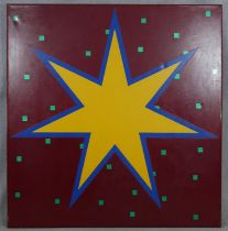 John Charles Clark (B.1941), a large oil on canvas, Random Pattern With Star, signed and inscribed