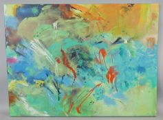 Lucy Kent (b 1984-) An abstract oil on canvas, signed, by artist. 08. H.76 W.102cm