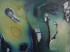 A large oil on canvas, abstract study, signed Soren and signed and dated to the reverse. H.154 W.