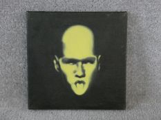 Mauricio Ortiz, oil on canvas 'Small Yellow Head', signed and dated to the reverse. H.25.5 W.25.5cm