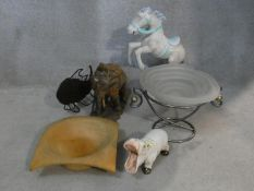 A miscellaneous collection of six items to inlclude a glass comport, turned bowl and various
