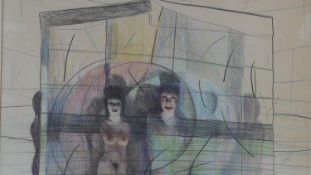 """Martin Fuller (b.1943), a framed pencil and crayon, """"The Shows On"""" signed and dated H.69.5 W.86cm"""