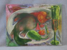 Radha Binod Sharma, oil on canvas, still life study, signed and dated to the reverse. H.92 W.121cm