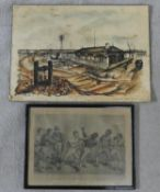 A framed and glazed antique etching of Tom Molineaux vs Tom Cribb along with a ink drawing on