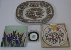 A collection of ceramics and metalware. Including an enamel on copper square dish with iris flower