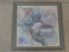 Pilar Cossio (Born 1950), framed watercolour with pastel, Classical style nude study, signed and