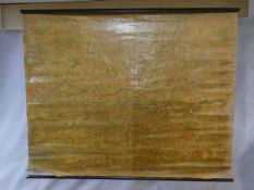 A very large varnished vintage canvas map of London. H.148 W.184cm