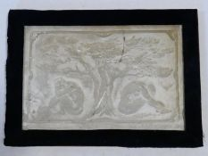 A framed classical style plaster relief plaque, figures beneath a tree, signed R L Nicholson. H.33