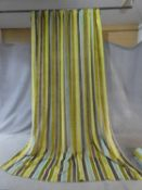 A pair of lined curtains with velvet stripes. H.311 W.234cm