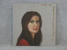 Hala Muhanna, oil on canvas, self portrait with inscription; if I change my point of view, would