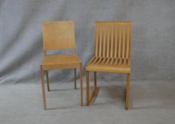 A Shim and Tomoko Azumi comb chair with Benchmark disc to underside and a Jasper Morrison plywood