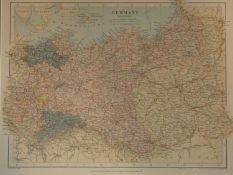 A framed and glazed 19th century hand coloured lithograph showing a map of Eastern Germany by Edward