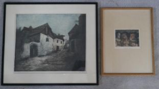 Two framed and glazed tinted etchings, both indistinctly signed, one of a country farmouse and the