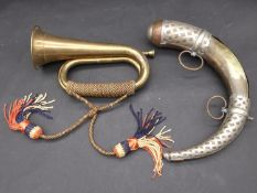 An Islamic copper, brass and white metal gun powder horn, with two hanging loops and white metal